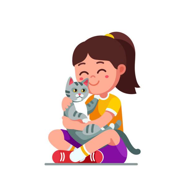 bildbanksillustrationer, clip art samt tecknat material och ikoner med lyckligt leende förskola flicka kid holding och petting söt grå katt. barndomen tamdjur kattunge. barn tecknad karaktär platt vektor clipart illustration. - korslagda ben