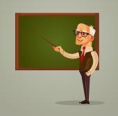 Happy smiling professor teacher old man character pointing on blackboard