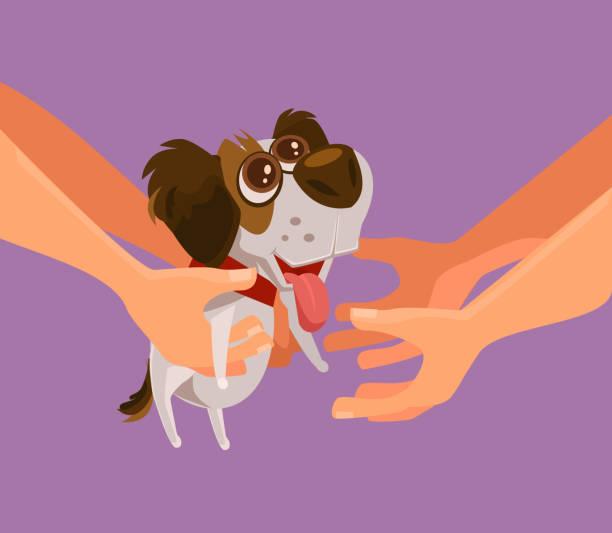 stockillustraties, clipart, cartoons en iconen met gelukkig lachend puppy hond karakter geven aan persoon als geschenk - adoptie