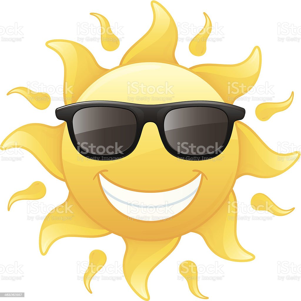 Smiling sun with sunglasses - Happy Smiling Radiant Yellow Summer Sun Wearing Sunglasses Vector Illustration Royalty Free Stock Vector Art