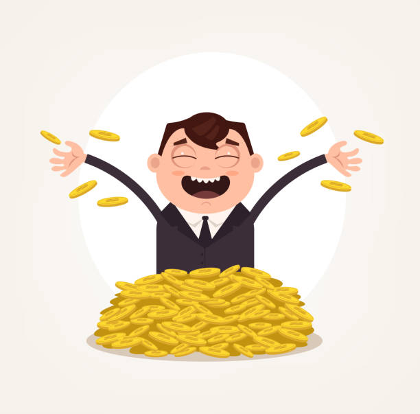 Happy smiling rich man office worker businessman character swimming in gold coins Happy smiling rich man office worker businessman character swimming in gold coins. Vector flat cartoon illustration bonus march stock illustrations