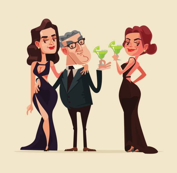 Happy smiling rich old man character with beauty young  women models vector art illustration