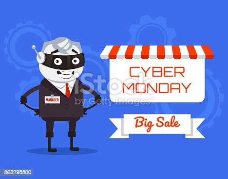 Happy smiling robot manager present Cyber Monday banner. Vector flat cartoon illustration