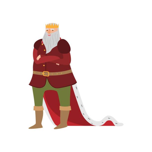 illustrations, cliparts, dessins animés et icônes de roi royal de sourire heureux du conte de fées dans de longs vêtements - sceptre