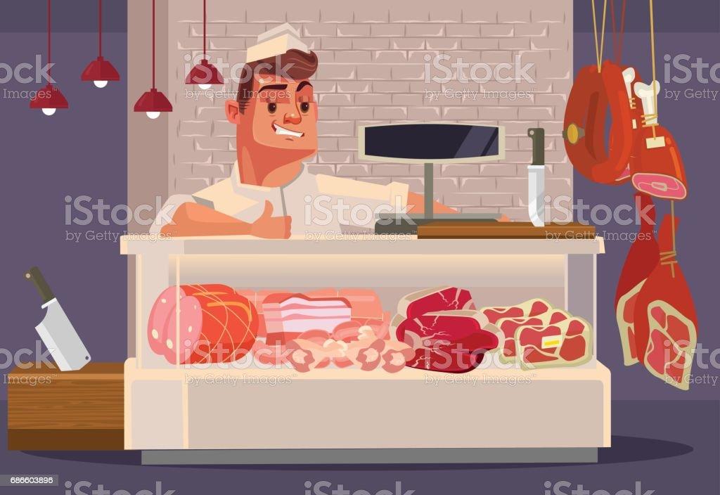 Happy smiling sales man butcher offering fresh meat vector art illustration