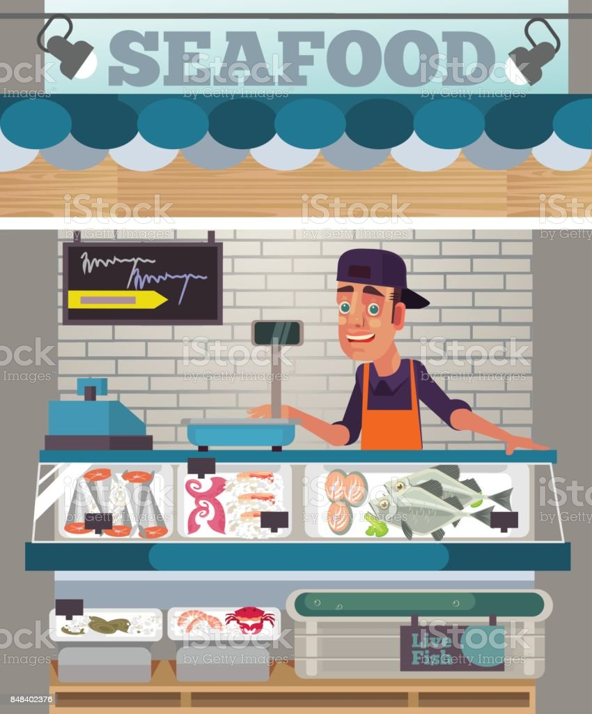Happy smiling sales man character sell seafood. Food market concept vector art illustration