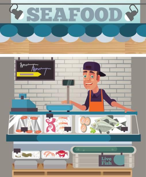 illustrazioni stock, clip art, cartoni animati e icone di tendenza di happy smiling sales man character sell seafood. food market concept - banchi di pesci