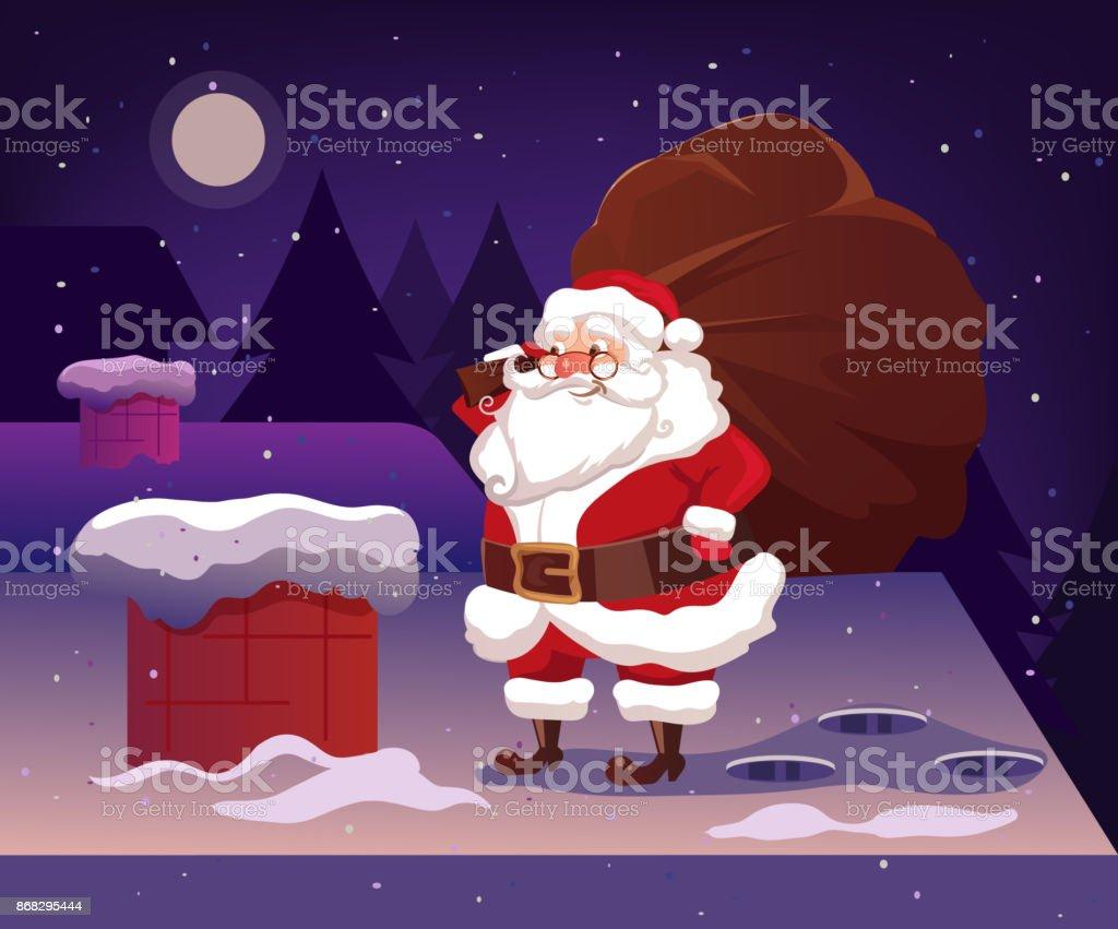 Glücklich Lächelnden Weihnachtsmann Charakter Auf Dach Halten ...