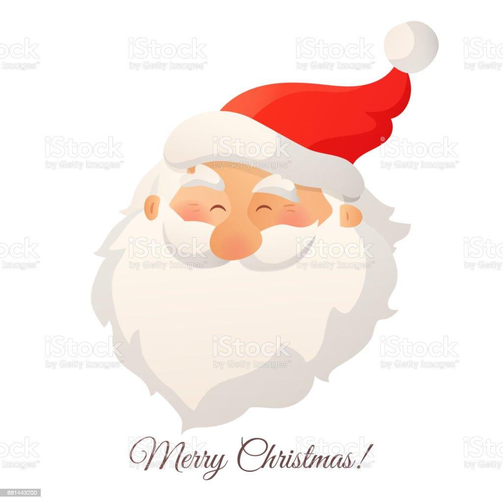 116620d0a4bcd Happy sonriente cabeza de Santa Claus con barba y sombrero rojo.  Ilustración vectorial de dibujos