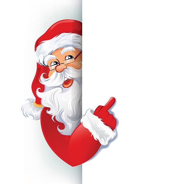 happy smiling santa claus showing on big blank sign - nikolaus stock-grafiken, -clipart, -cartoons und -symbole