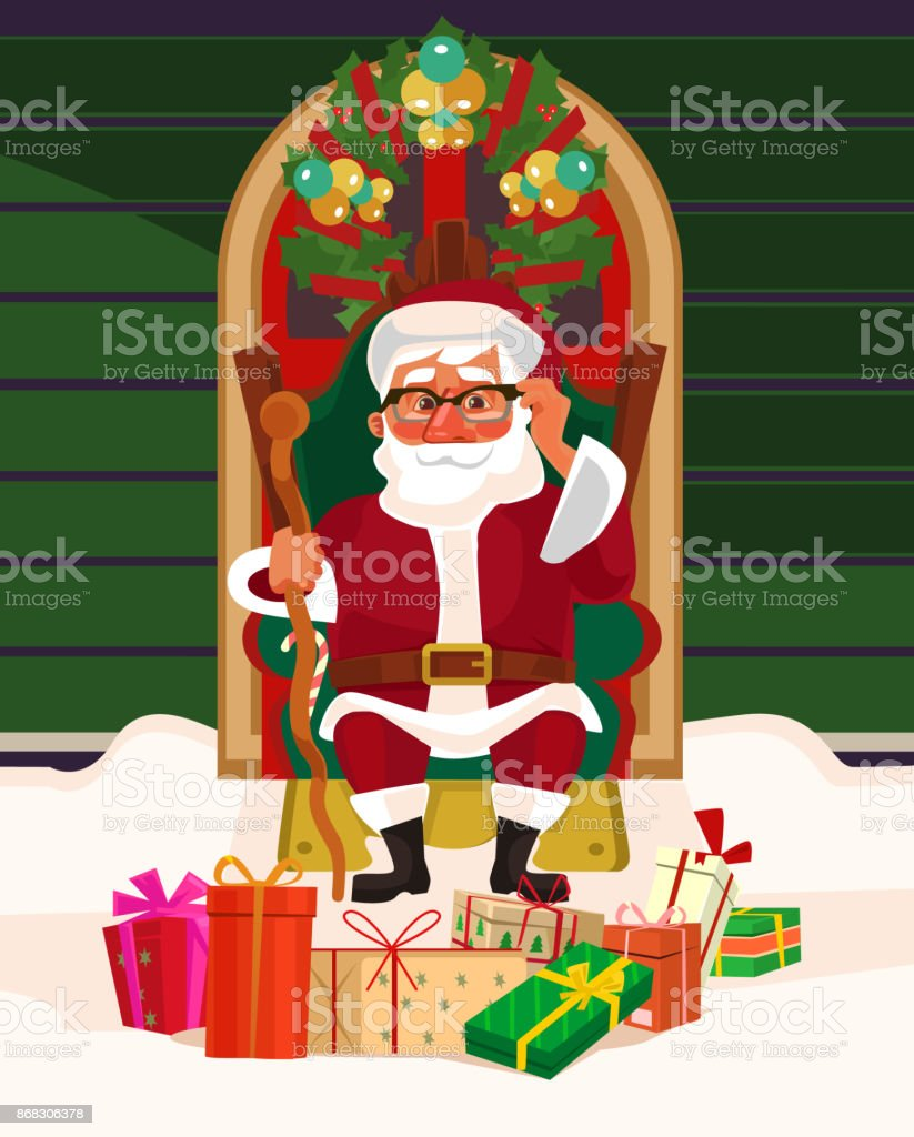 Glücklich Lächelnden Weihnachtsmann Sitzt Auf Sessel Unter ...