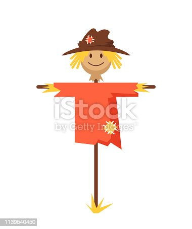 Happy smiling scarecrow character. Vector flat cartoon graphic design banner poster