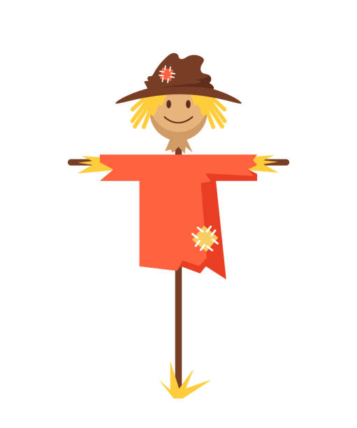Happy smiling scarecrow character. Vector flat cartoon graphic design banner poster concept vector art illustration
