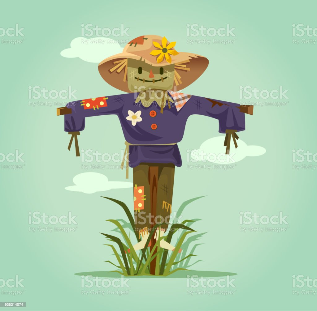 Happy smiling scarecrow character vector art illustration