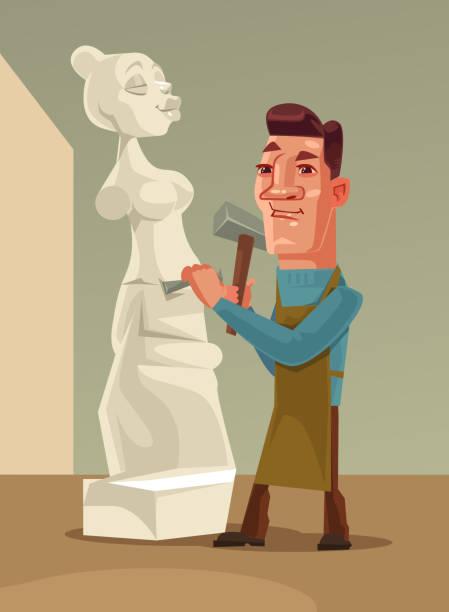 illustrations, cliparts, dessins animés et icônes de heureux caractère homme sculpteur souriant, créant la femme de pierre - modèles de bande dessinée