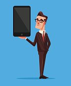 Happy smiling seller businessman office worker character present new smart phone