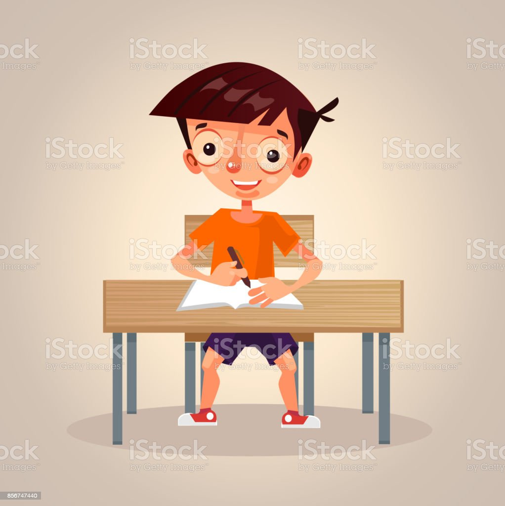Happy smiling small little school boy character studying thinking and writing in his notebook vector art illustration