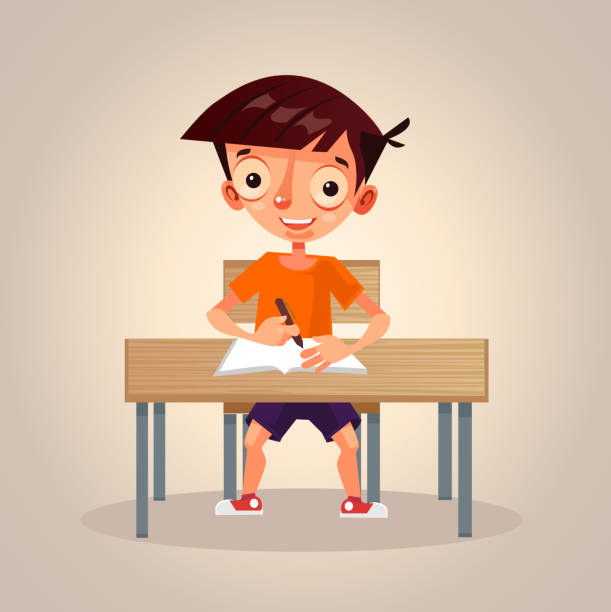 ilustrações, clipart, desenhos animados e ícones de feliz sorrindo pequeno pequeno personagem de menino de escola estudar, pensar e escrever em seu caderno - aula de redação