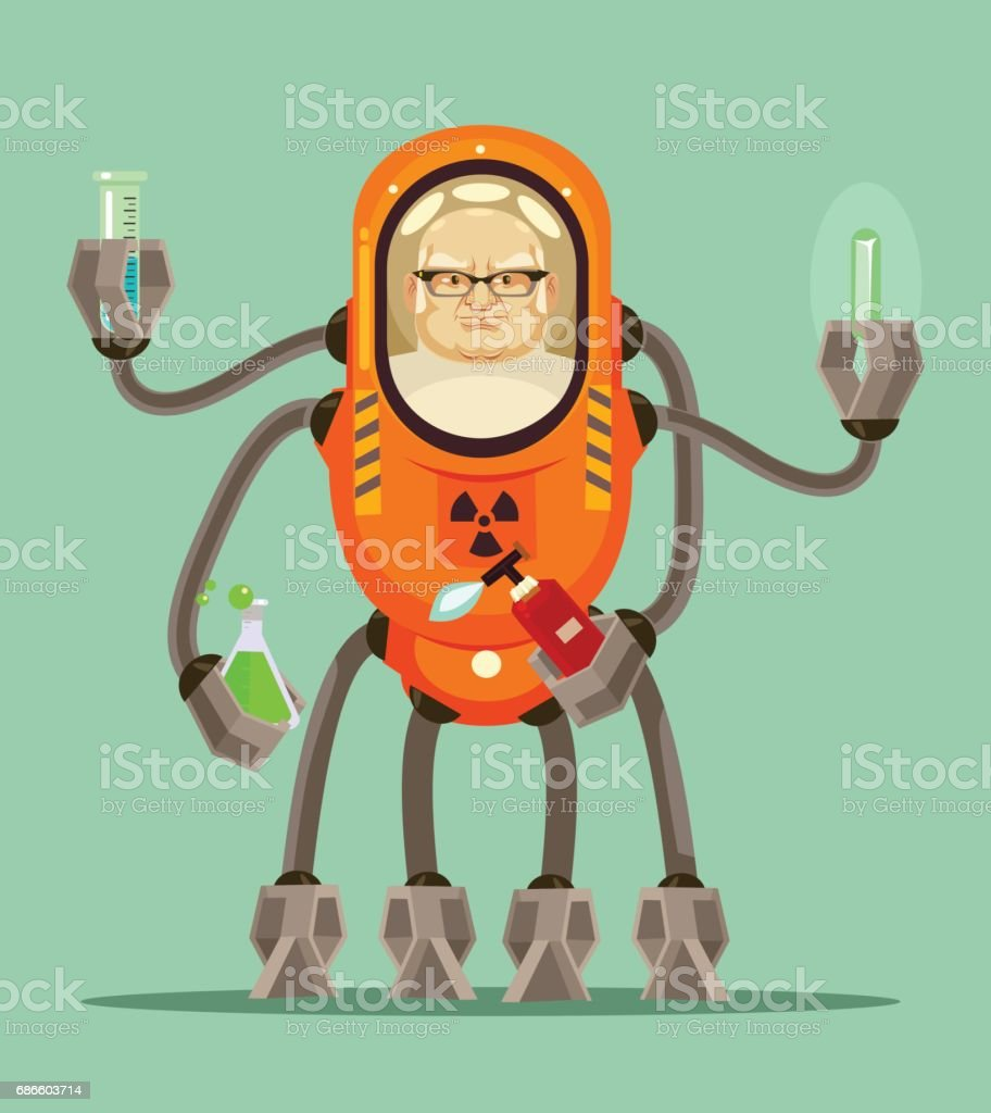 Happy smiling smart mad scientist man robot cyborg character holds flask with liquid in his iron hands vector art illustration