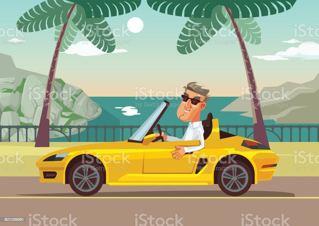 Happy smiling successful businessman character sitting in car cabriolet vector art illustration