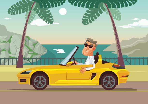 Happy smiling successful businessman character sitting in car cabriolet Happy smiling successful businessman character sitting in car cabriolet. Vector flat cartoon illustration convertible stock illustrations