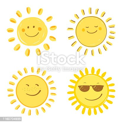Happy smiling sun. Set of four variations. Vector design elements. Hand drawn images on a white background.