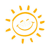 Happy smiling sun. Vector design element. Hand drawn image on a white background.