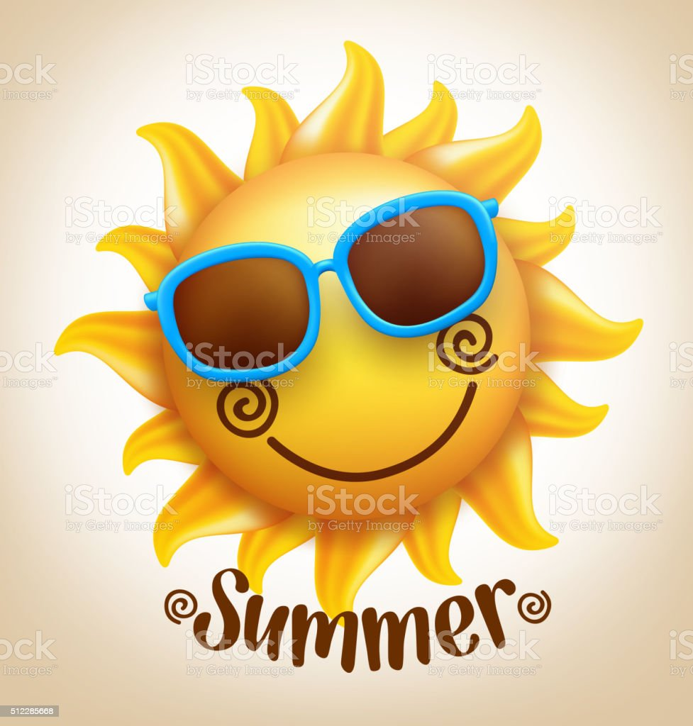 Happy Smiling Sun Vector with Colorful Sunglasses with Summer Title vector art illustration