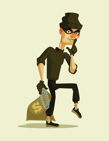 Happy smiling thief character carrying stolen money bag