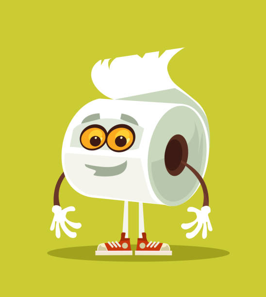 happy smiling toilet paper character - papier toaletowy stock illustrations