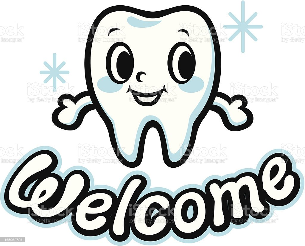 Happy smiling tooth (Welcome) royalty-free happy smiling tooth stock vector art & more images of body care