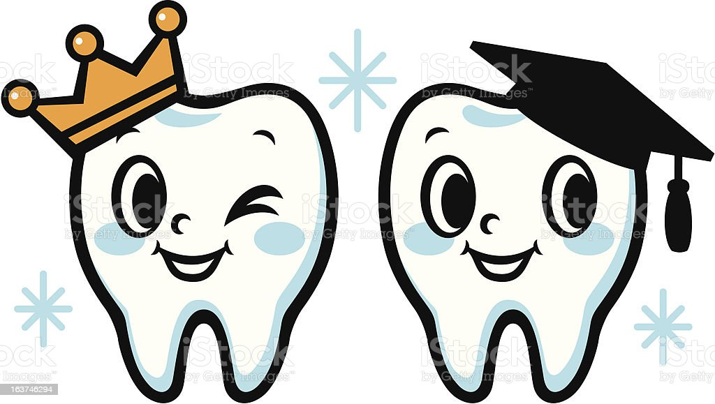 Happy smiling tooth (Graduation hat and crown) royalty-free happy smiling tooth stock vector art & more images of brushing