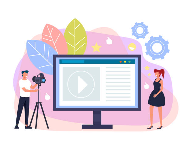 Glücklich lächelnde Frau Blogger Streaming online. Internet-Blogging-Website-Konzept. Vector Flachbild-Zeichentrickfilm – Vektorgrafik