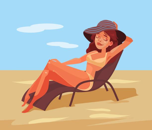 glücklich lächelnde frau auf stuhl liegen und sonnenbaden - sonnenstuhl stock-grafiken, -clipart, -cartoons und -symbole