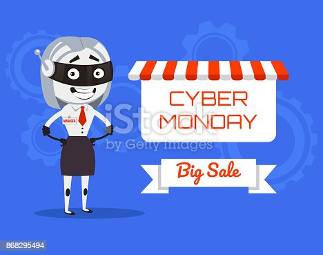 Happy smiling woman robot manager present Cyber Monday banner. Vector flat cartoon illustration