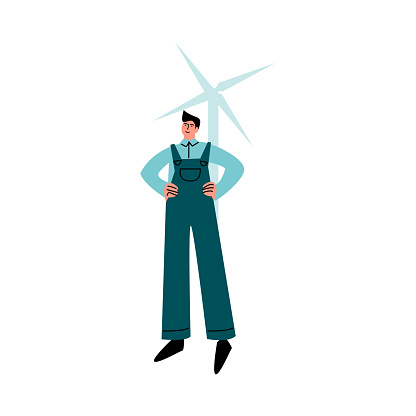 Happy smiling worker in blue pants standing in front of windmill. Vector illustration in cartoon style.