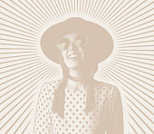 Happy, smiling young hipster woman with sunbeams