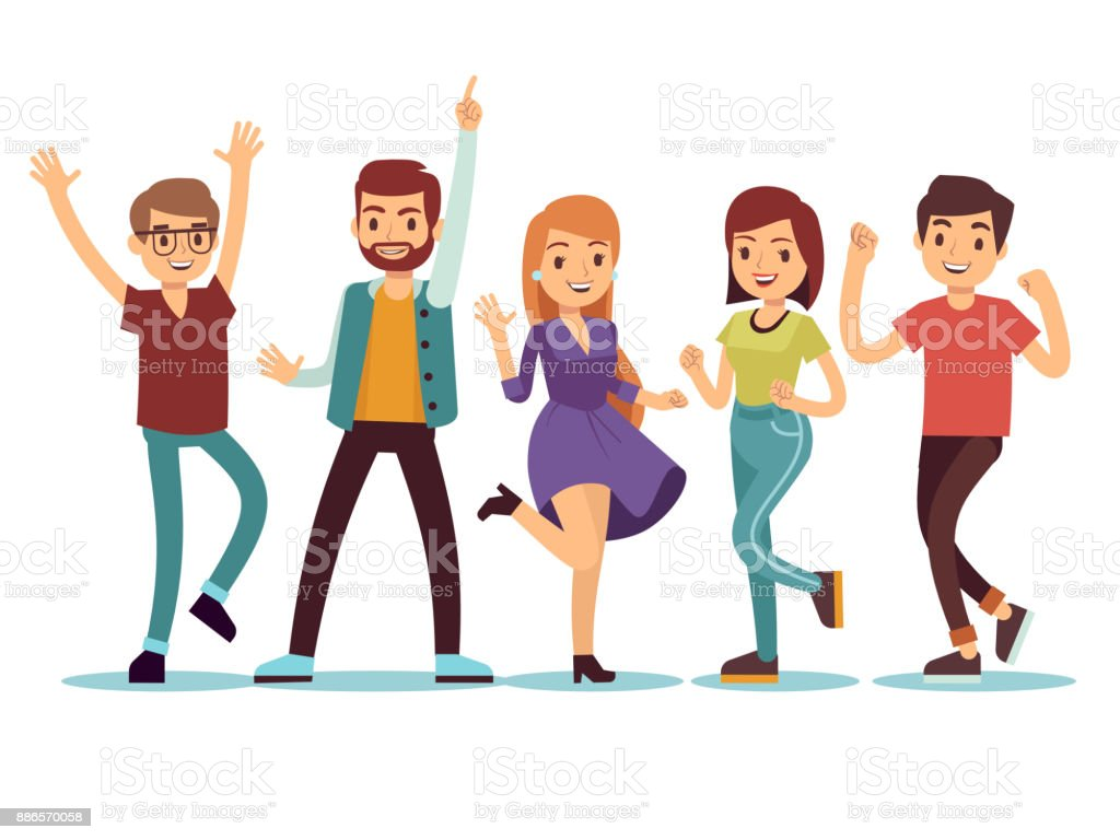 Feliz Personas Exitosas En Caricaturas: Happy Smilling Dancing Young Persons At Christmas Party