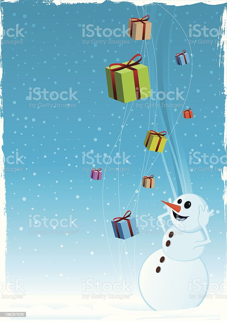 Happy snowman and christmas gifts vector art illustration