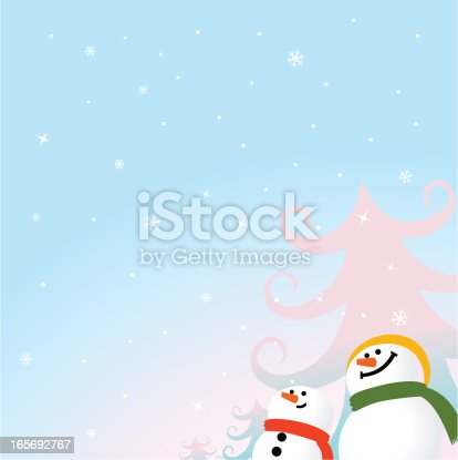 istock Happy Snowman Greeting Card, Beautiful Snowflake Background 165692767