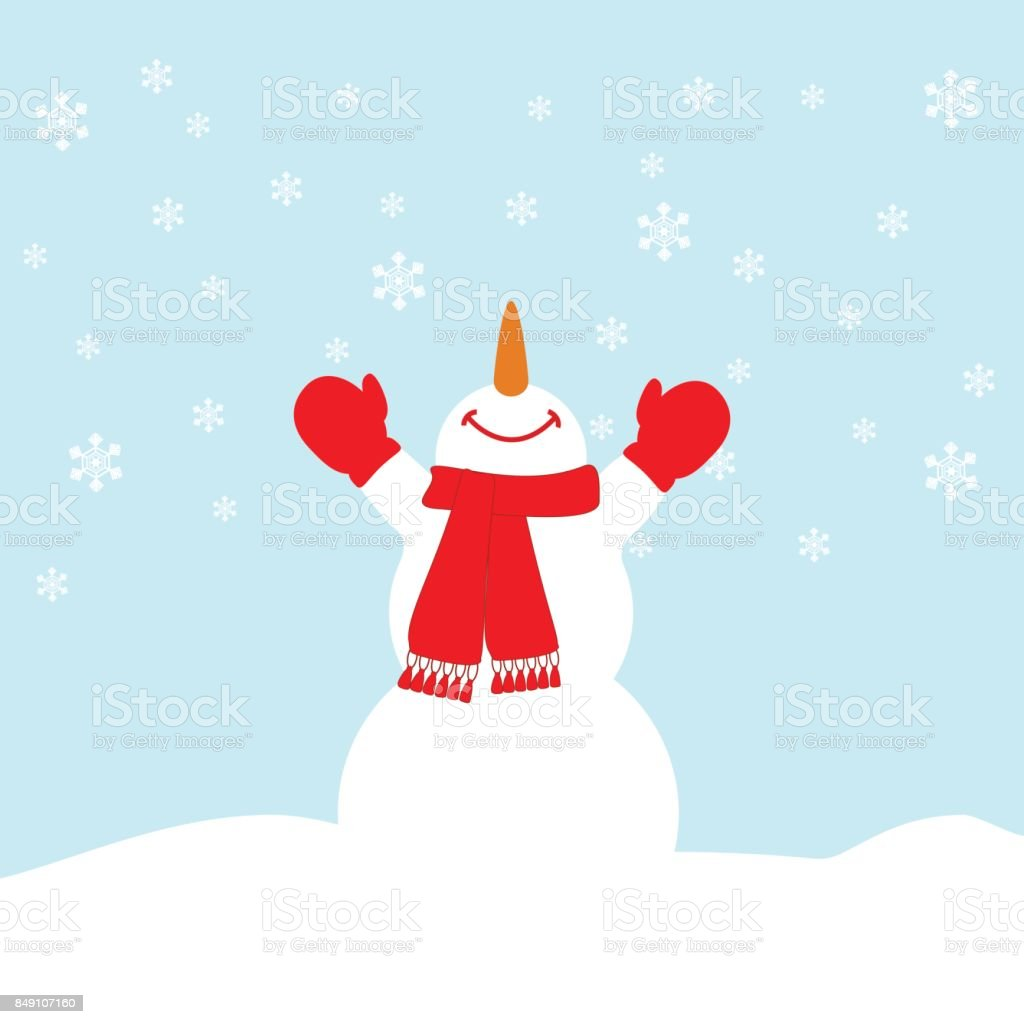Heureux Bonhomme de neige illustration - Illustration vectorielle