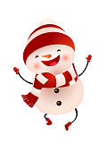 Happy snowman in cap and scarf jumping vector illustration. Christmas, New year, party. Holiday concept. Vector illustration can be used for topics like winter, childhood, animation