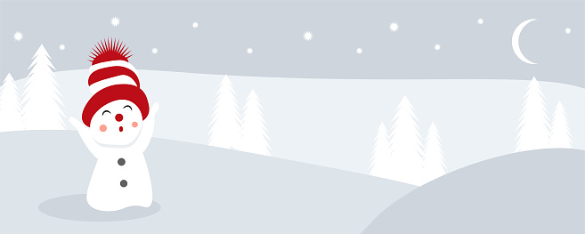 Happy snowman standing in winter christmas landscape. Merry christmas and happy new year greeting card. Funny snowman in hat on snowy background. Copy space for text. Vector illustration. Banner