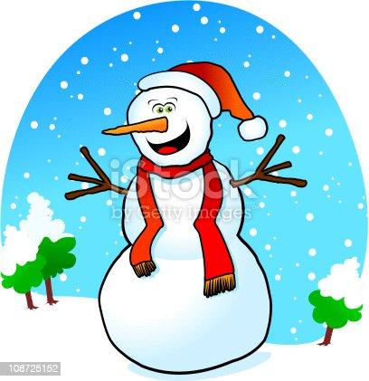 istock Happy snowman 108725152