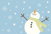 Happy snowman rejoicing over snowfall.