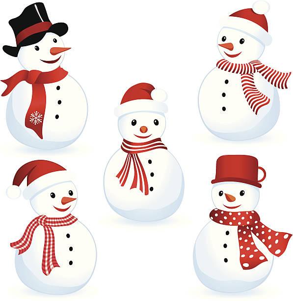 Happy Snowman Isolated Snowmen Set. ZIP contains AI format, PDF and jpeg XXXLarge. headscarf stock illustrations