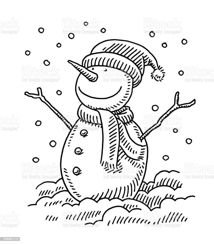 Gl cklich schneemann winterzeichnung stock vektor art und - Dessiner un paysage d hiver ...