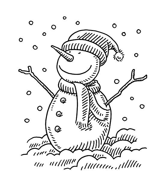 Happy Snowman Winter Drawing Hand-drawn vector drawing of a Happy Snowman in Winter. Black-and-White sketch on a transparent background (.eps-file). Included files are EPS (v10) and Hi-Res JPG. cartoon character figure stock illustrations