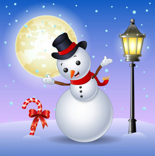 Happy snowman with candy cane and lamppost Illustration of Happy snowman with candy cane and lamppost formal glove stock illustrations