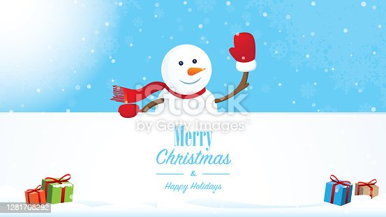 istock Happy snowman with Merry Christmas text 1281708292